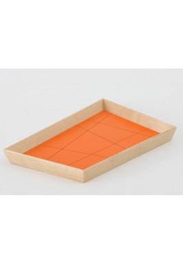 ندى ديبز صينية تقديم كبيرة برتقالي من خشب القبقب تصميم عتيق بشكل شبه منحرف