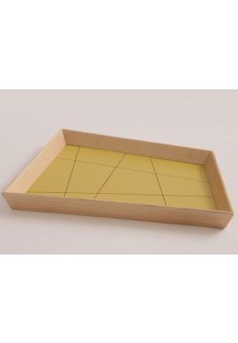 ندى دبز صينية تقديم كبيرة تصميم عتيق بشكل شبه منحرف لون زيتوني (من خشب الجوز)