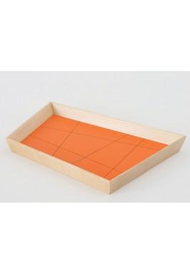 ندى ديبز صينية تقديم كبيرة تصميم عتيق بشكل شبه منحرف لون برتقالي (من خشب الجوز)