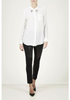 قميص رييز من الحرير بياقة مزينة