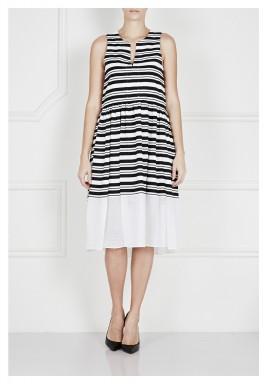 فستان منسوج ومخطط مع شبكة مشذبة