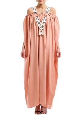فستان كتان وردي