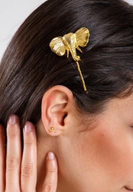 مشبك شعر الفيل مطلي بالذهب