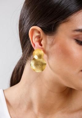 أقراط عملة معدنية مطلية بالذهب