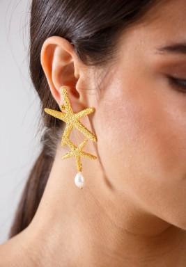 أقراط نجم البحر المطلية بالذهب