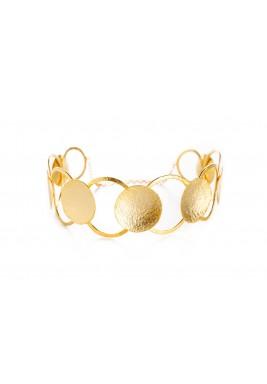 عقد نمط حلقات مطلي بالذهب