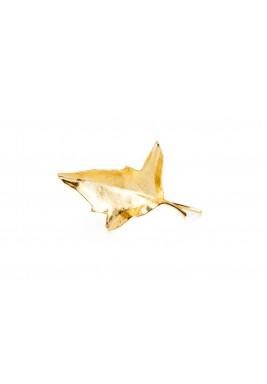 دبوس شعر ورقة الخريف مطلي بالذهب