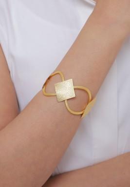 طقم أسوارة وخاتم مطلي بالذهب تصميم ألماس