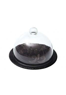 صحن مسطح مطلي دائري 25x25x17cmمع غطاء شفاف