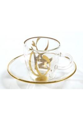 كوب و صحن قهوة تركية زجاجي منقوش باللون الذهبي