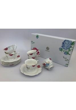 مجموعة من 6- فناجين قهوة سعة 100 سم3 وأطباق بتصميم زهور- متعددة