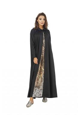 فستان أسود حرير بطبعات نمرية
