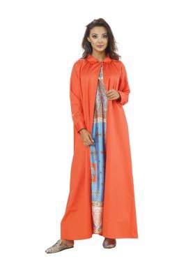 فستان دايموند البرتقالي بطبعات ملونة