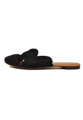 حذاء حلا أسود فلات بحياكة يدوية