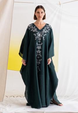 فستان أخضر مزخرف ماكسي