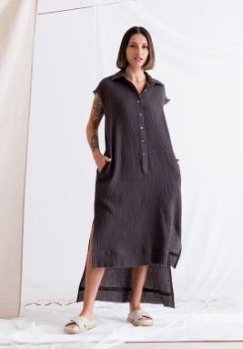 فستان رمادي بدون أكمام