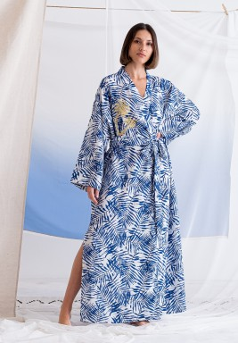 Blue Embroidered Slit Robe