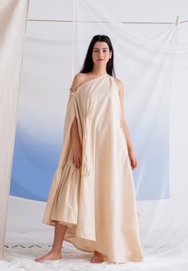 فستان بيج بكسرات وشراشيب