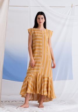 فستان خردلي مخطط برفرفات