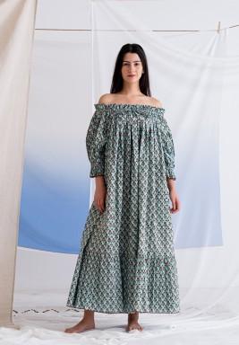 فستان فوفو الأزرق المورد