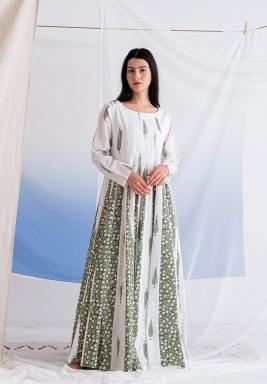 فستان مهاوي الأخضر المطبوع بأكمام طويلة
