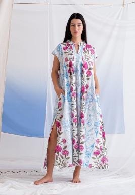 White Printed Flower Dress