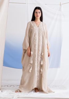 فستان بيج مطرز ماكسي مع بطانة
