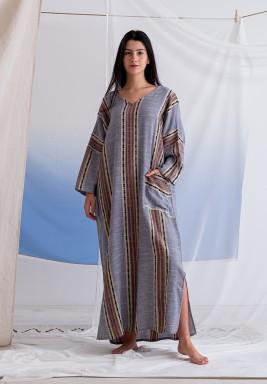 فستان اهوجاس الأزرق المطبوع