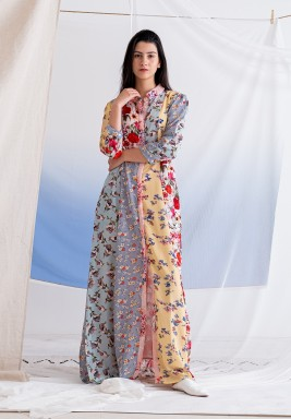 فستان ايبيزا ماكسي بطبعات ورود