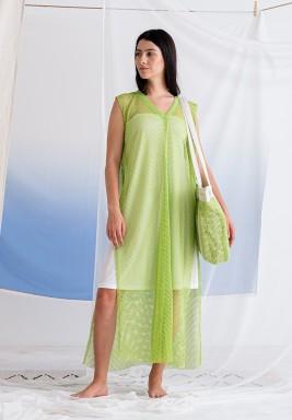 فستان أخضر ليموني مش بدون أكمام