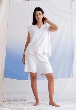 White Top & Shorts Towel Set