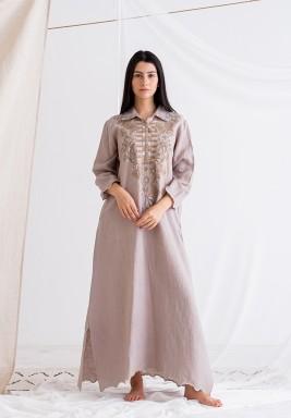 فستان رمادي آش مطرز ماكسي