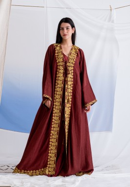 Maroon Long Abaya with Embroidery and Tassel Details & Inner Dress