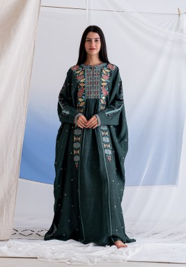 Bottel Green Embroidered Dress with Inner Cami