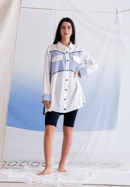 قميص مارين أبيض وأزرق