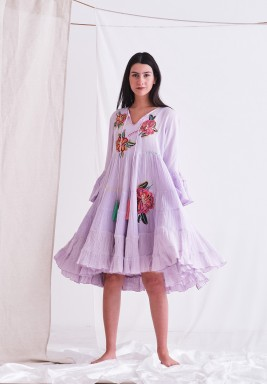 Wisteria Dress with Embroider Patch & Tassel