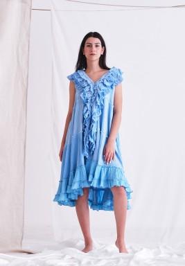 فستان أزرق نيلي برفرفات