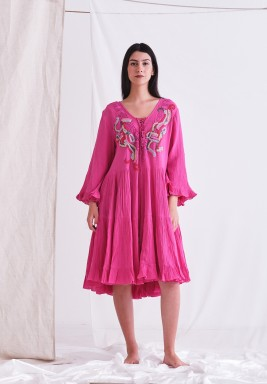Hot Pink Dress with Embroider & Embellishment & Tassel