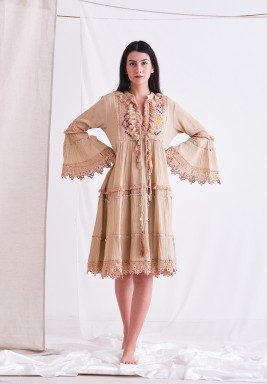 Peach Beige Dress with Embroider Patch & Ruffel & Tassel