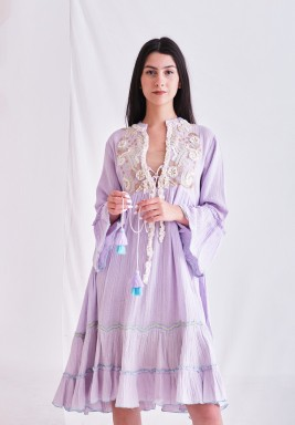 Mauve Dress with Embroider Patch & Tassel