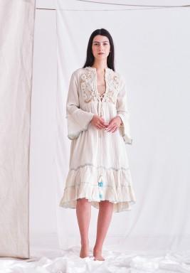 Ecru Dress with Embroider Patch & Tassel