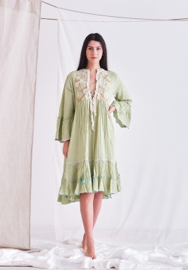 Olive Green Dress with Embroider Patch & Tassel