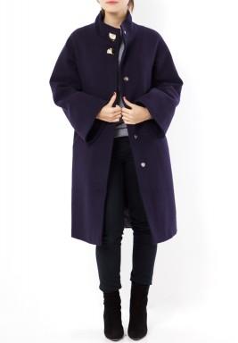 معطف صوف أزرق داكن