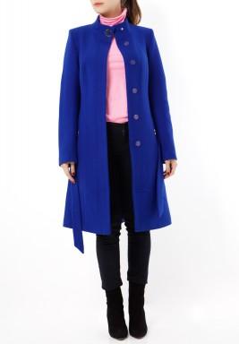 معطف صوف أزرق ساطع