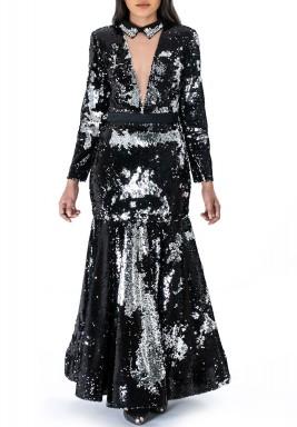 فستان پاييت طويل أسود وفضي