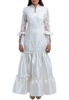 فستان أورجانزا دانتيل طويل سمني