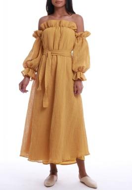 فستان الملاك الخردلي بأكتاف مكشوفة