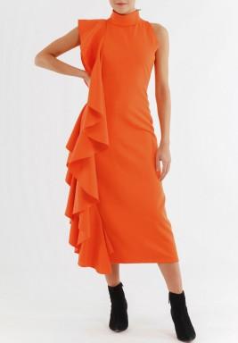 فستان برتقالي برفرفات جانبية بدون أكمام