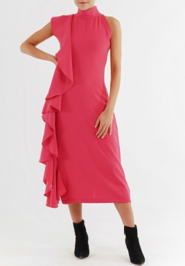فستان كشكش فوشيه باللون الأرجواني الضارب إلى الحمرة