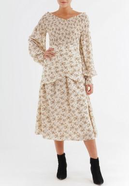فستان مشجر بنمط الورود